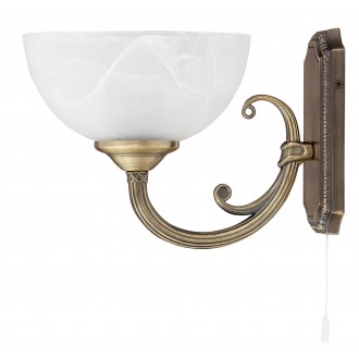RABALUX 8541 | Marlene Rabalux falikar lámpa húzókapcsoló 1x E14 bronz, fehér alabástrom