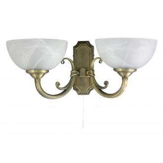 RABALUX 8542 | Marlene Rabalux falikar lámpa húzókapcsoló 2x E14 bronz, fehér alabástrom
