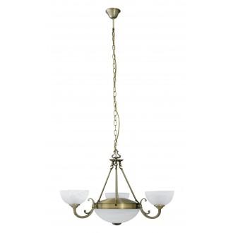 RABALUX 8543 | Marlene Rabalux csillár lámpa 3x E14 + 2x E27 bronz, fehér alabástrom