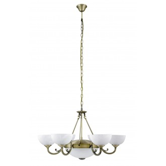RABALUX 8546 | Marlene Rabalux csillár lámpa 6x E14 + 2x E27 bronz, fehér alabástrom