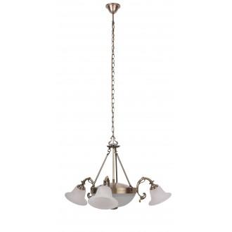 RABALUX 8553 | Orchidea Rabalux csillár lámpa 3x E14 + 2x E27 bronz, fehér alabástrom