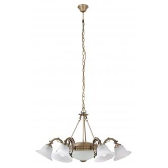 RABALUX 8556 | Orchidea Rabalux csillár lámpa 6x E14 + 2x E27 bronz, fehér alabástrom