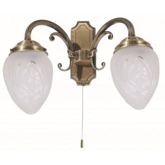 RABALUX 8632 | Annabella Rabalux falikar lámpa húzókapcsoló 2x E14 bronz, átlátszó