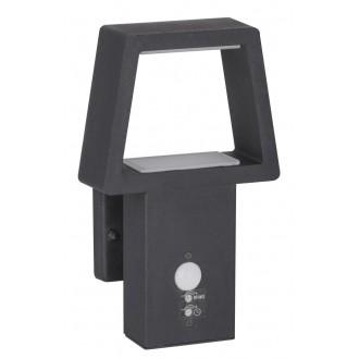 RABALUX 8668 | ArizonaR Rabalux fali lámpa mozgásérzékelő 1x LED 900lm 3000K IP44 antracit