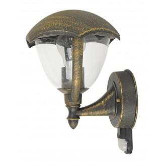 RABALUX 8676 | Miami Rabalux falikar lámpa mozgásérzékelő 1x E27 IP44 UV antikolt arany, fehér