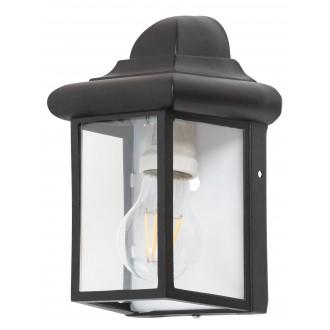 RABALUX 8752 | Norvich Rabalux falikar lámpa 1x E27 IP43 matt fekete, átlátszó