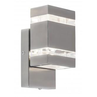 RABALUX 8780 | Cambridge Rabalux fali lámpa fényérzékelő szenzor - alkonykapcsoló 2x LED 330lm 4000K IP44 nemesacél, rozsdamentes acél