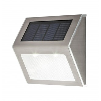 RABALUX 8784 | Santiago Rabalux fali dekor lámpa napelemes/szolár, 2 darabos szett 1x LED 12lm 6000K IP44 nemesacél, rozsdamentes acél
