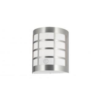 RABALUX 8800 | SevillaR Rabalux fali lámpa mozgásérzékelő, fényérzékelő szenzor - alkonykapcsoló 1x E27 IP44 UV szatén króm, fehér