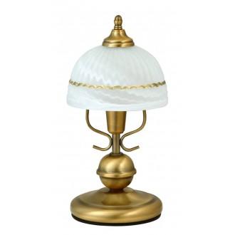 RABALUX 8812 | Flossi Rabalux asztali lámpa 32cm vezeték kapcsoló 1x E14 bronz, fehér alabástrom