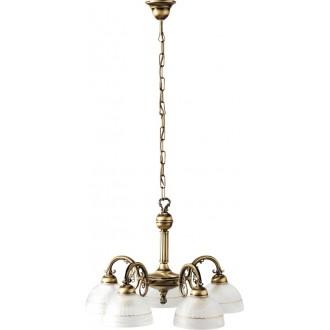 RABALUX 8815 | Flossi Rabalux csillár lámpa 5x E27 bronz, fehér alabástrom