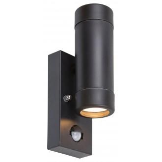 RABALUX 8835 | Medina-RA Rabalux falikar lámpa mozgásérzékelő 2x GU10 IP44 UV matt fekete