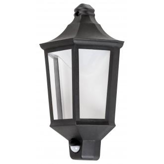 RABALUX 8980 | Rosewell Rabalux fali lámpa mozgásérzékelő 1x LED 500lm 3000K IP44 UV matt fekete, átlátszó