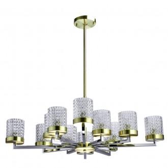 REGENBOGEN 605011912 | Hamburg-MW Regenbogen csillár lámpa 12x E27 króm, sárgaréz, átlátszó