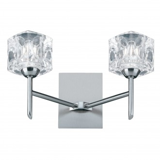 SEARCHLIGHT 4342-2-LED   Ice-Cube Searchlight falikar lámpa kapcsoló 2x LED 500lm 3000K króm, szatén ezüst, átlátszó