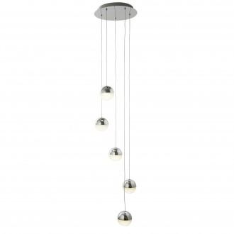 SEARCHLIGHT 5845-5CC | marble effects Searchlight függeszték lámpa rövidíthető vezeték 5x LED 1080lm 4000K króm, fehér, kristály hatás