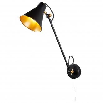 SEARCHLIGHT 6302BK | Wall-SL Searchlight falikar lámpa húzókapcsoló elforgatható alkatrészek 1x E27 matt fekete, arany