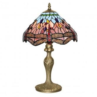 SEARCHLIGHT EU1287 | Dragonfly Searchlight asztali lámpa 46cm kapcsoló 1x E27 antikolt réz, színes