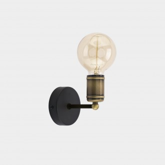 TK LIGHTING 1900 | Retro-TK Tk Lighting falikar lámpa 1x E27 fekete, antikolt bronz