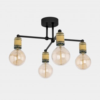 TK LIGHTING 1904 | Retro-TK Tk Lighting mennyezeti lámpa 4x E27 fekete, antikolt bronz