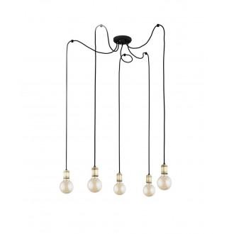 TK LIGHTING 2362 | Qualle Tk Lighting függeszték lámpa rövidíthető vezeték 5x E27 fekete