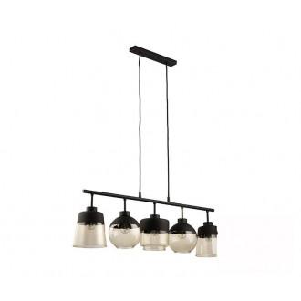 TK LIGHTING 2382 | Amber-TK Tk Lighting függeszték lámpa rövidíthető vezeték 5x E27 fekete, füst