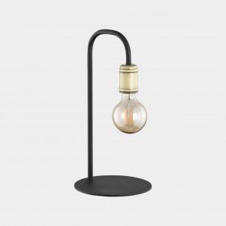 TK LIGHTING 3023 | Retro-TK Tk Lighting asztali lámpa 36cm vezeték kapcsoló 1x E27 fekete, antikolt bronz