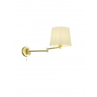TRIO 209100108   Lyon-TR Trio falikar lámpa húzókapcsoló elforgatható alkatrészek 1x E27 mattított arany, fehér