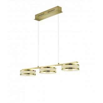 TRIO 378010308   Agento Trio függeszték lámpa állítható magasság, szabályozható fényerő 3x LED 2250lm 3000K mattított arany, piszkosfehér