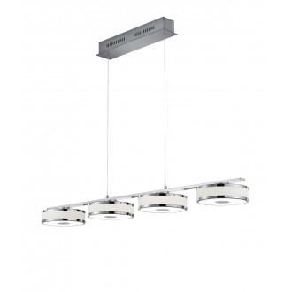 TRIO 378010407   Agento Trio függeszték lámpa állítható magasság, szabályozható fényerő 4x LED 3000lm 3000K matt nikkel, piszkosfehér