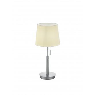 TRIO 509100107   Lyon-TR Trio asztali lámpa 45cm húzókapcsoló állítható magasság 1x E27 matt nikkel, fehér