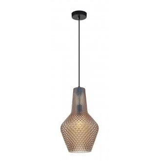 VIOKEF 4169302 | Soleto Viokef függeszték lámpa 1x E27 borostyán, áttetsző, fekete