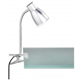 WOFI 234901509000 | Jos Wofi csiptetős lámpa vezeték kapcsoló flexibilis 1x E14 470lm 3000K szürke, króm, átlátszó