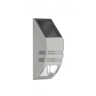 WOFI 4051.01.97.7000 | Cupido Wofi fali lámpa fényérzékelő szenzor - alkonykapcsoló napelemes/szolár 1x LED 23lm 6000K IP44 csiszolt acél