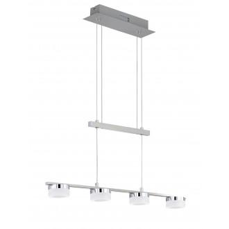 WOFI 7175.04.54.7000 | LoganW Wofi függeszték lámpa ellensúlyos, állítható magasság, szabályozható fényerő 4x LED 1280lm 3000K matt nikkel, króm, fehér