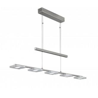 WOFI 7254.05.64.0000 | Vileta Wofi függeszték lámpa ellensúlyos, állítható magasság, szabályozható fényerő 5x LED 1800lm 3000K matt nikkel