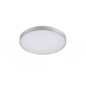 WOFI 9135.01.70.7000 | Glam Wofi mennyezeti lámpa kerek távirányító szabályozható fényerő, állítható színhőmérséklet 1x LED 3100lm 2700 <-> 6500K ezüst, fehér, kristály hatás