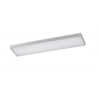 WOFI 9135.01.70.7300 | Glam Wofi mennyezeti lámpa téglalap távirányító szabályozható fényerő, állítható színhőmérséklet 1x LED 3600lm 2700 <-> 6500K ezüst, fehér, kristály hatás