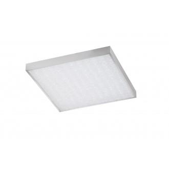 WOFI 9135.01.70.7600 | Glam Wofi mennyezeti lámpa négyzet távirányító szabályozható fényerő, állítható színhőmérséklet 1x LED 3100lm 2700 <-> 6500K ezüst, fehér, kristály hatás