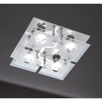 WOFI 986105010000 | Cali Wofi mennyezeti lámpa távirányító szabályozható fényerő, színváltós 4x GU10 1200lm + 1x LED 3000K króm, fehér, átlátszó