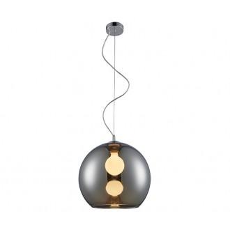 ZUMA LINE MD1621-1CH | VeroZL Zuma Line függeszték lámpa gömb 1x E27 króm, füst, átlátszó