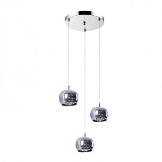 ZUMA LINE P0076-03M | CrystalZL Zuma Line függeszték lámpa kerek 3x G9 króm, füst, átlátszó