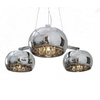 ZUMA LINE P0076-03R | CrystalZL Zuma Line függeszték lámpa kerek rövidíthető vezeték 3x G9 króm, füst, átlátszó