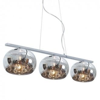 ZUMA LINE P0076-03S | CrystalZL Zuma Line függeszték lámpa kerek rövidíthető vezeték 3x G9 króm, füst, átlátszó
