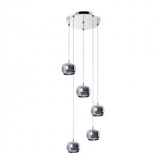 ZUMA LINE P0076-05M-B5FZ | CrystalZL Zuma Line függeszték lámpa kerek 5x G9 króm, füst, átlátszó