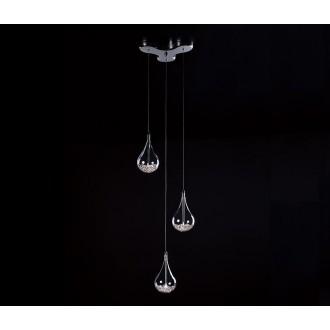 ZUMA LINE P0226-03B | Perle Zuma Line függeszték lámpa csepp 3x G4 króm, átlátszó, kristály