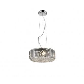 ZUMA LINE P0360-05B-F4AC | Prince Zuma Line függeszték lámpa kerek rövidíthető vezeték 5x G9 króm, átlátszó, kristály