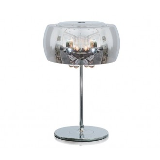 ZUMA LINE T0076-03E | CrystalZL Zuma Line asztali lámpa kerek 42cm vezeték kapcsoló 3x G9 króm, füst, átlátszó