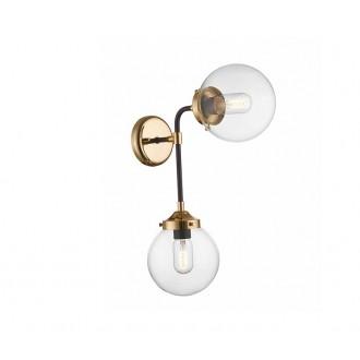 ZUMA LINE W0454-02D | Riano Zuma Line falikar lámpa 2x E27 arany, fekete, átlátszó
